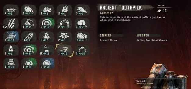 Horizon Zero Dawn Crafting Resources Item Ingredients